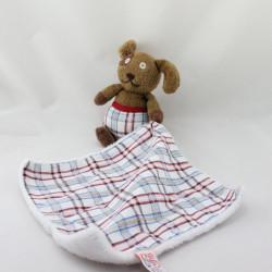 Doudou chien marron rouge  bleu mouchoir LATITUDE ENFANT