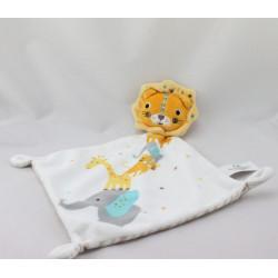 Doudou plat lion blanc orange rayé beige KIABI SIMBA TOYS