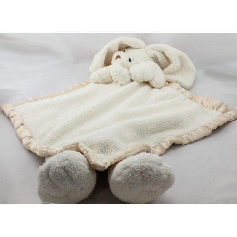 Grand Doudou plat couverture lapin blanc beige LA GALLERIA