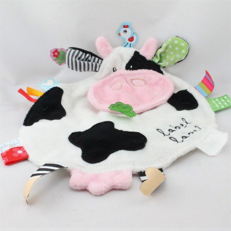 Doudou plat vache étiquettes LABEL