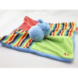 Doudou plat hippopotame bleu vert rouge pois rayé FISHER PRICE