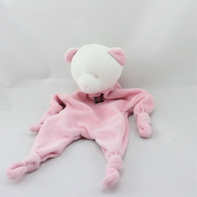 Doudou plat ours blanc rose BLANCHET