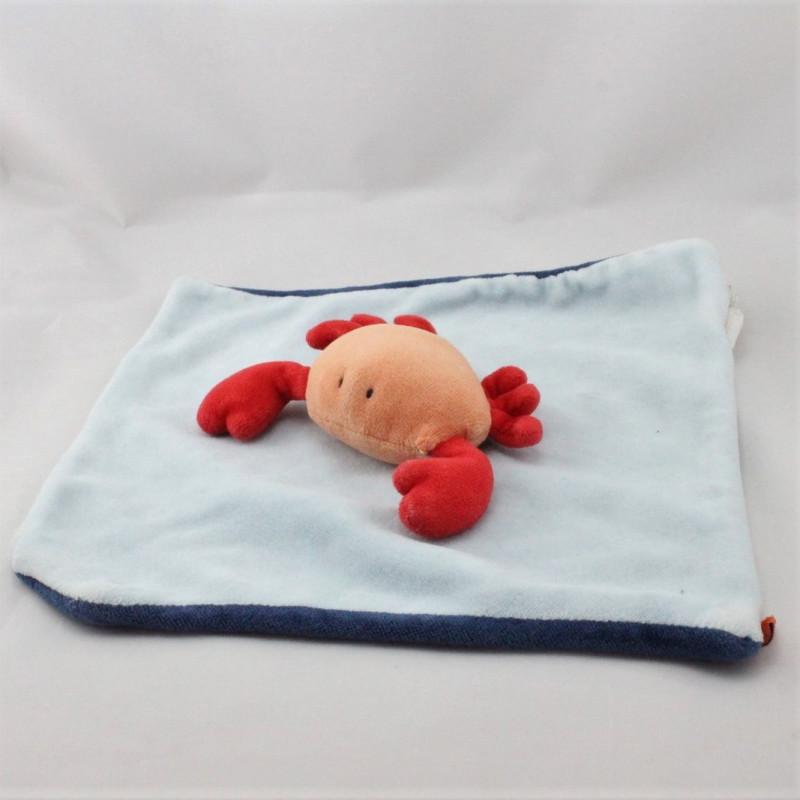 Doudou plat bleu crabe rouge JACADI