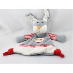 Doudou plat lapin gris blanc rouge STERNTALER
