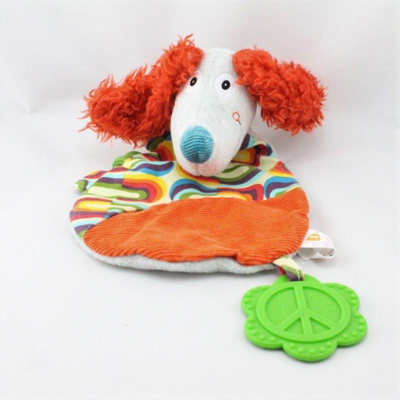 Doudou plat chien orange gris bleu multicolore EBULOBO