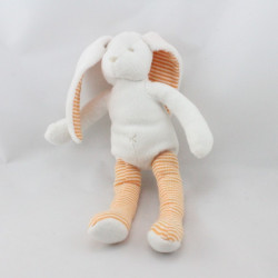 Doudou lapin blanc rayé orange SERGENT MAJOR