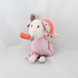 Doudou souris rose orange marron pois étoile ORCHESTRA