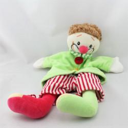 Doudou plat marionnette clown vert rouge rayé EGMONT TOYS