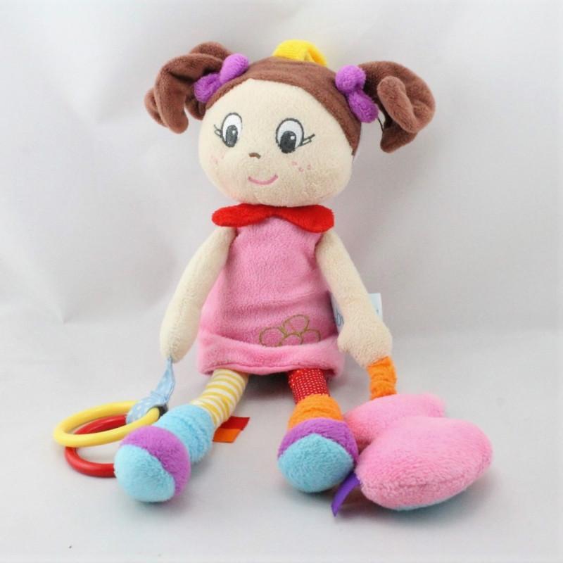 Doudou poupée fille rose rouge jaune orange anneau chat BABY NAT