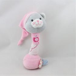 Doudou baton hochet chat rose pomme GIPSY
