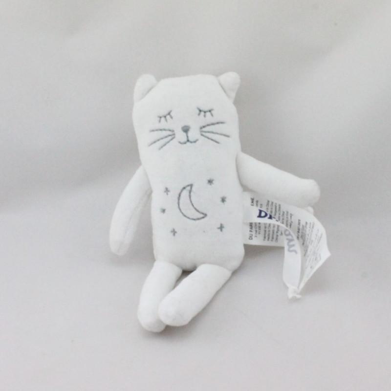 Petit Doudou ours chat blanc lune étoiles DPAM