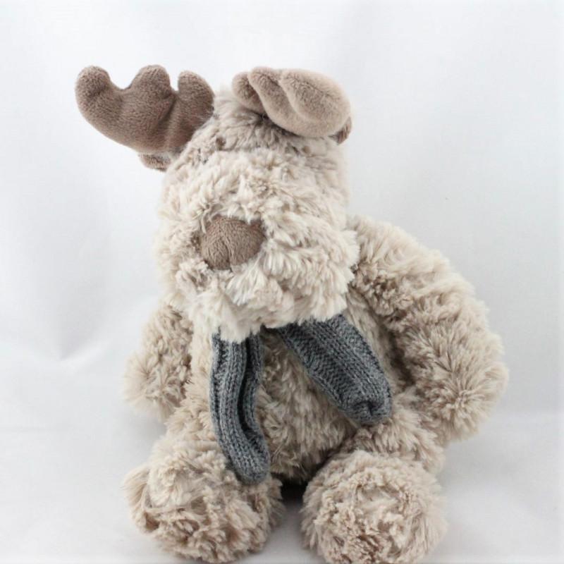 Doudou élan cerf renne marron beige écharpe grise KSD