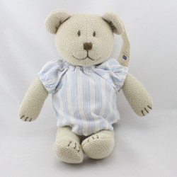 Doudou ours beige pull bleu rayé tricot JACADI