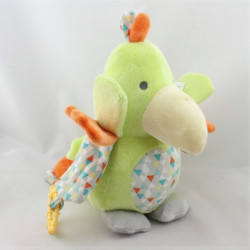 Doudou oiseau toucan perroquet vert orange OBAIBI