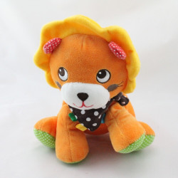 Doudou lion Orange Jaune vert rouge pois Nicotoy