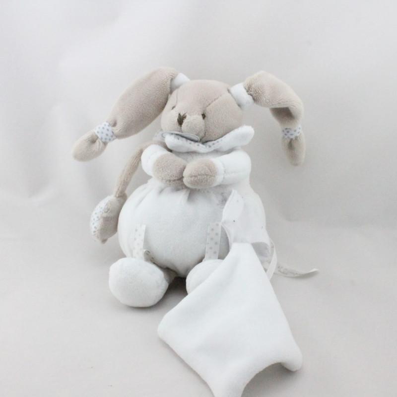 Doudou et compagnie lapin blanc beige étoiles mouchoir Céleste