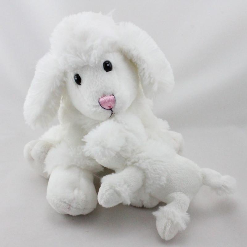 Doudou chien caniche blanc avec bébé NOUNOURS