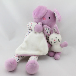 Doudou musical lapin blanc rose pois bébé mouchoir ZARA HOME
