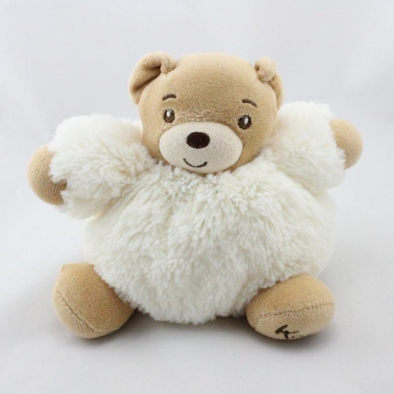 Doudou ours blanc écru fourrure Fur KALOO 20 cm