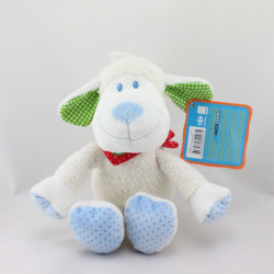 Doudou mouton blanc bandanas rouge vichy bleu vert TEX