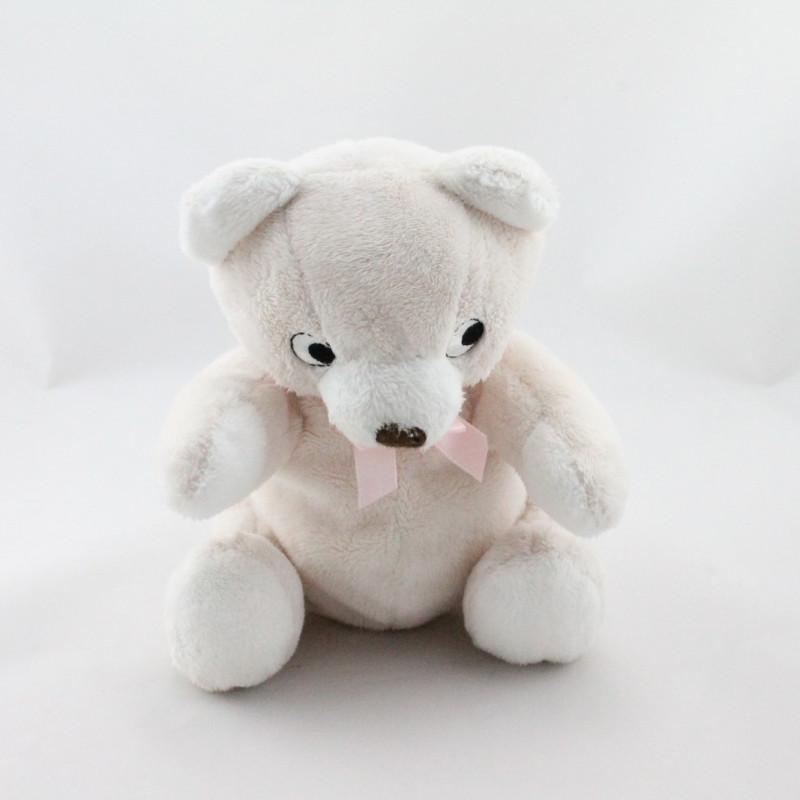 Doudou ours beige blanc noeud ruban rose HM H ET M H&M