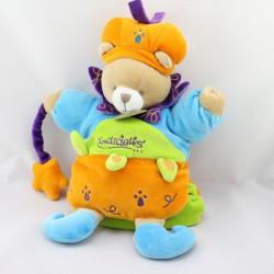 Doudou et compagnie marionnette ours prince Indidous vert orange bleu violet