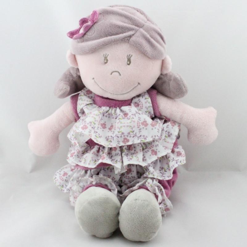 Doudou poupée fille rose prune robe fleurs Nina Kenza NOUKIE'S