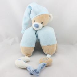 Doudou ours beige bleu lune Milo et Lena NATTOU