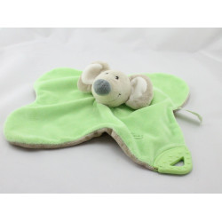 Doudou plat souris beige verte TIAMO COLLECTION