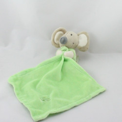 Doudou souris beige verte mouchoir TIAMO COLLECTION