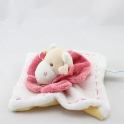 Doudou et compagnie plat vache blanc rose jaune Pistache