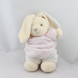 Doudou lapin plume rose blanc KALOO