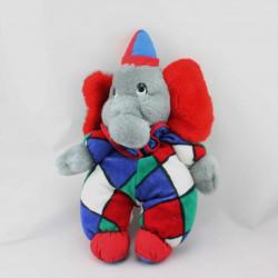 Doudou éléphant clown gris rouge bleu vert blanc NOUNOURS