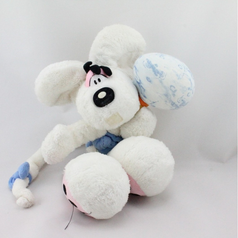 Doudou souris blanche bleu avec hochet DIDDL
