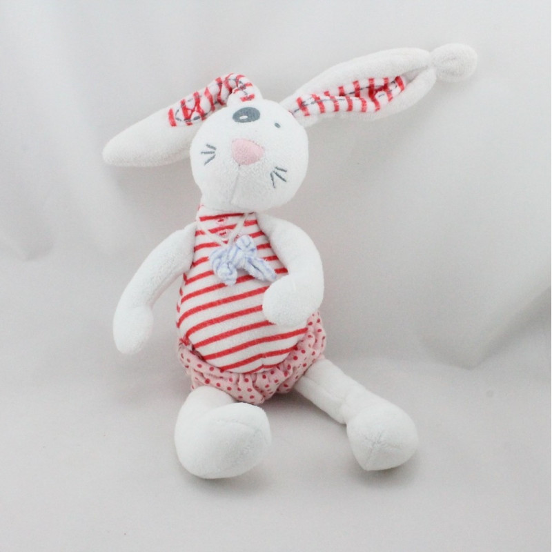 Doudou lapin blanc rose pois TAPE A L'OEIL