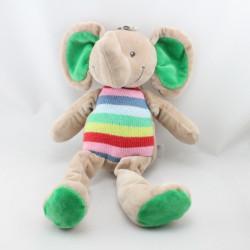 Doudou éléphant beige vert bleu rose rouge laine NICOTOY