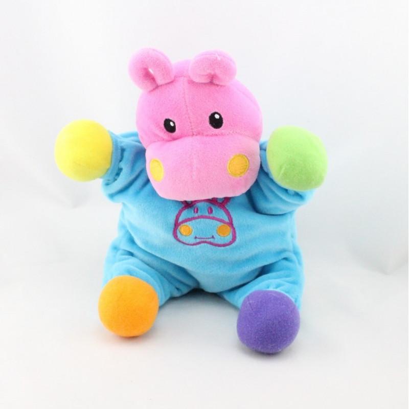 Doudou hippopotame bleu rose vert violet orange jaune grelot LAMAZE