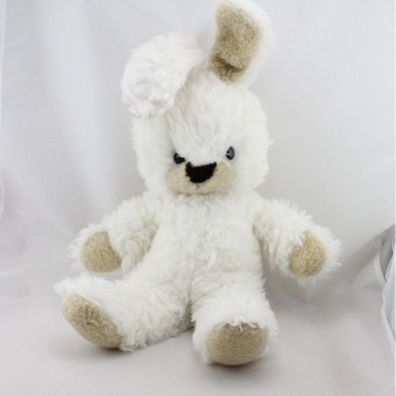 Ancienne peluche lapin blanc beige NOUNOURS