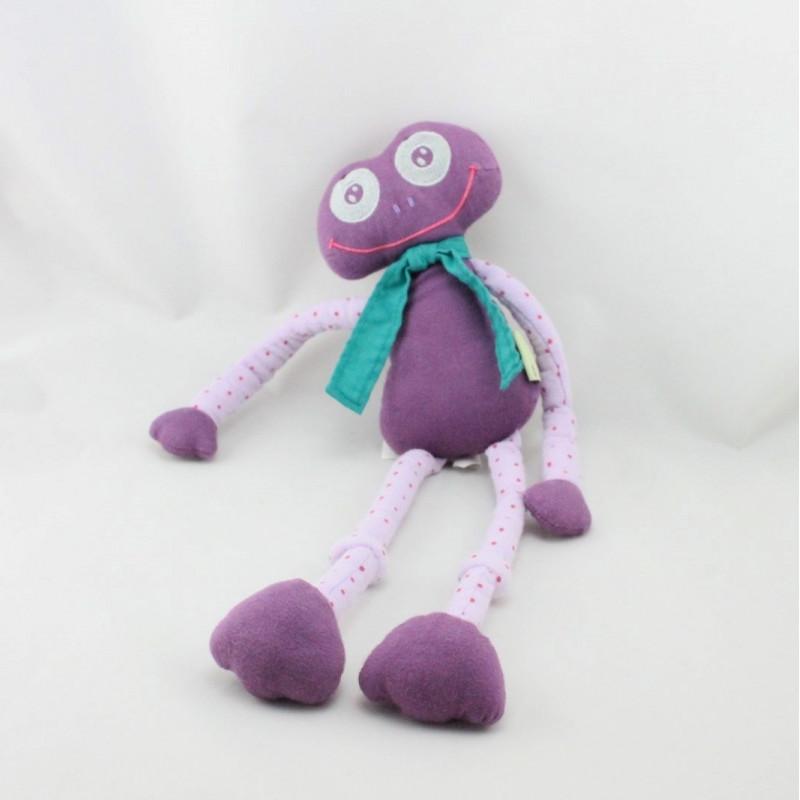 Doudou grenouille violet mauve pois EURODIF