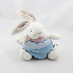 Petit Doudou lapin boule blanc bleu foulard rose NATURE ET DECOUVERTE