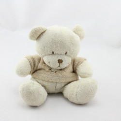Doudou ours blanc écru pull beige coeur NICOTOY