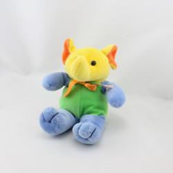 Doudou éléphant jaune vert bleu orange TOY'S RUS