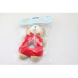 Doudou hochet ours beige rouge vichy SIMPSON TRADING