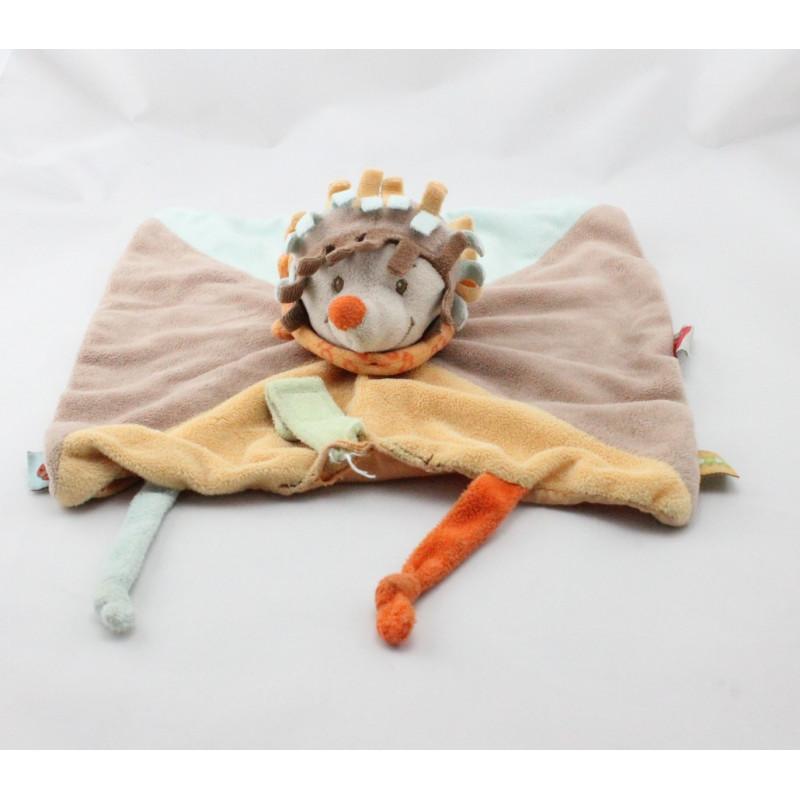 Doudou plat hérisson marron bleu jaune foulard orange NATTOU