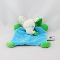 Doudou plat éléphant bleu vert CP INTERNATIONAL