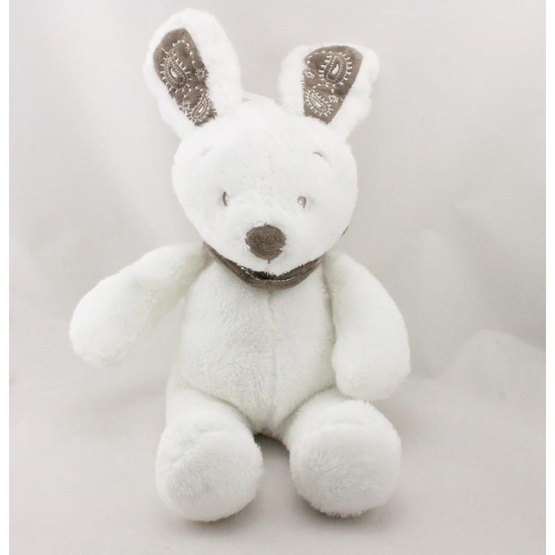 Doudou lapin blanc foulard gris KIABI SIMBA TOYS NICOTOY