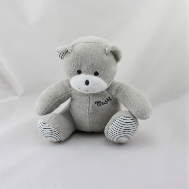 Doudou ours gris blanc rayé Musti Mustela