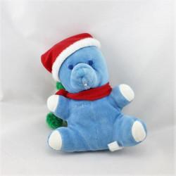 Doudou Ours bleu Noël Musti Mustela