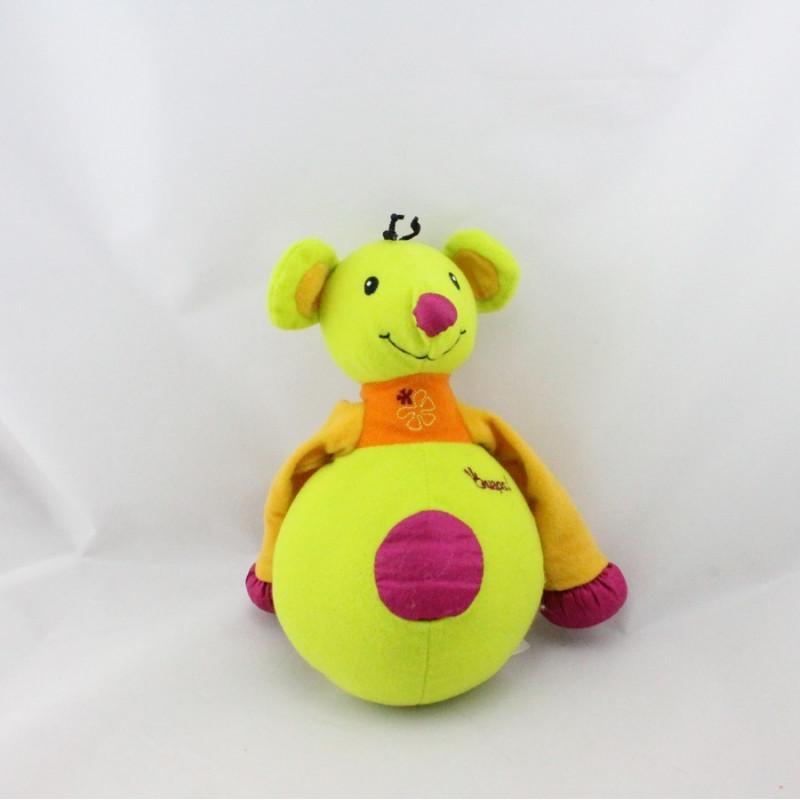 Doudou souris verte jaune rose OUAPS