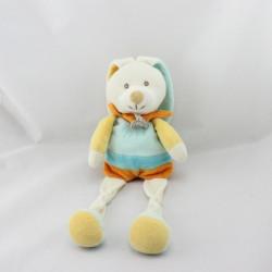 Doudou Lapin blanc bleu jaune orange Baby nat